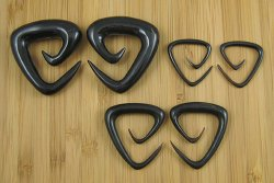 "Organic Black Horn Triangle Spirals 12g-1"" (Pair) 2mm-25.5mm"