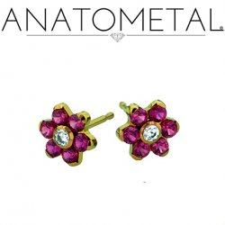 Anatometal Titanium 4.5mm Flower Earrings (Pair)