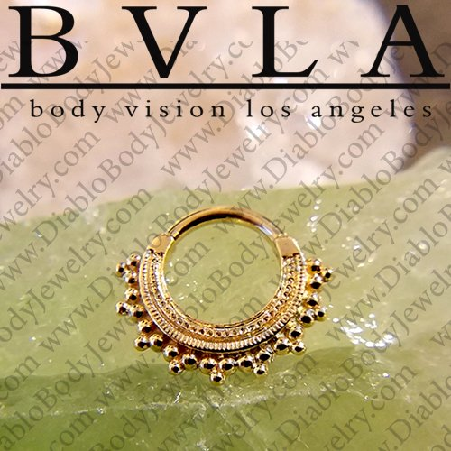 Bvla 14kt 18kt Gold Afghan Septum Clicker Nose Ring 12 Gauge 12g Body Vision Los Angeles 36 0855 12xx Afghan 12g 905 00 Diablo Body Jewelry The Art Of High