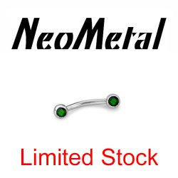 "18 Gauge 18g Limited Stock NeoMetal Threadless Titanium Side-set Faceted Black Opal 1/4"" Curved Barbell ""Press-fit"""