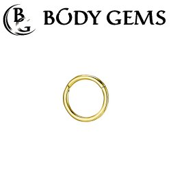 Body Gems 14kt Gold Simple Clicker Septum Daith Ring 16 Gauge 16g