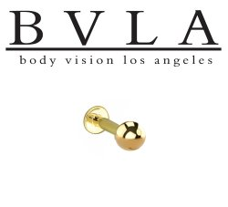 "BVLA 14kt & 18kt ""Complete Labret with 5/32"" Ball"" 16g Body Vision Los Angeles"