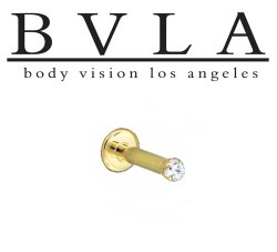 "BVLA 14kt & 18kt Gold ""1.5mm 4 Prong-set Gem"" Flatback Labret 16g 14g Body Vision Los Angeles"