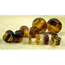 Organic Dominican Amber Ear Plugs 10g through 7/8""