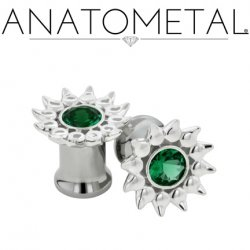 Anatometal Silver Sinflower Surgical Steel Eyelet Ear Gauge 6 Gauge 4 Gauge 2 Gauge