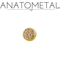 Anatometal 18kt Gold Bezel with Hammered Bronze Insert Threaded End Dermal Top 18g 16g 14g 12g