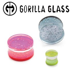 "Gorilla Glass Fused Dichroic Double Flare Plugs 0 Gauge to 2"" (Pair)"