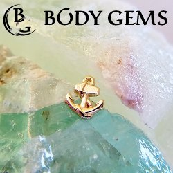 "Body Gems 14kt Gold ""Anchor"" Threadless End 25g Pin (will fit 18g, 16g, 14g Universal Threadless Posts) ""Press-fit"""