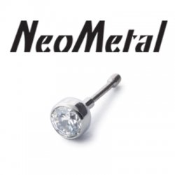 "16 Gauge 16g NeoMetal Threadless Titanium Bezel-Set Faceted Gem 2.5mm ""Press-fit"""