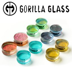 "Gorilla Glass Deluxe Dichroic Double Flare Plugs 0 Gauge to 2"" (Pair)"