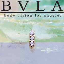 "BVLA 14kt & 18kt Gold ""Linear Tri-Prong"" Threadless End 18g 16g 14g Body Vision Los Angeles"