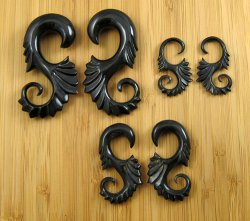 "Organic Black Horn Ornate Poseidon 12g-3/4"" (Pair) 2mm-19mm"