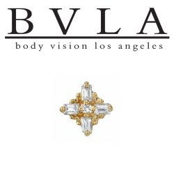 "BVLA 14kt & 18kt Gold ""Mini Gaia VS Diamond"" Threaded End 18g 16g 14g 12g Body Vision Los Angeles"