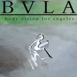 "BVLA 14kt & 18kt Gold ""8mm Trucker Mudflap Girl"" Nostril Screw Nose Bone Nail Ring Stud 20g 18g 16g Body Vision Los Angeles"