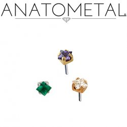 Anatometal 18kt Gold 2mm Prong-set Princess-cut Gem Threadless End 18g 16g 14g (25g Pin Universal) Threadless Posts Press-fit