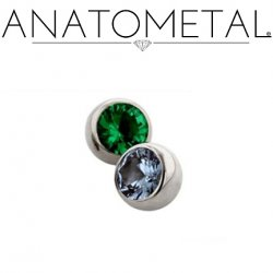 Anatometal Titanium Threaded Gem Ball End 0 gauge 0g