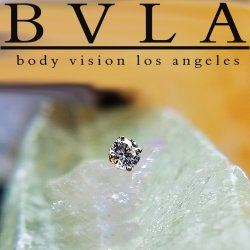 "BVLA 14kt & 18kt Gold ""4-Prong 2.5mm Gem"" Threaded End 18g 16g 14g 12g Body Vision Los Angeles"