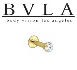 "BVLA 14kt & 18kt Gold ""2.25mm Prong-set Gem"" Flatback Labret 16g 14g Body Vision Los Angeles"