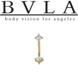 "BVLA 14kt & 18kt ""Princess Prongs CZ Curved Barbell"" 16g 16 guage Body Vision Los Angeles"