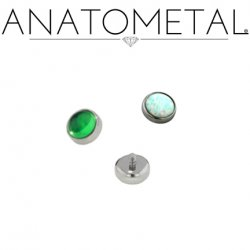 Anatometal Titanium Threaded 2.0mm Bezel-set Cabochon Gem End 18 Gauge 16 Gauge 14 Gauge 12 Gauge 18g 16g 14g 12g