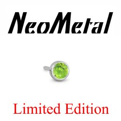 "18 Gauge 18g NeoMetal Limited Ed. Threadless Titanium Faceted Peridot Bezel 2.0mm ""Press-fit"""