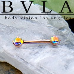 BVLA 14kt Gold Straight Barbell Forward Facing 4 Prong Bell-set Gems 12 Gauge 12g Body Vision Los Angeles