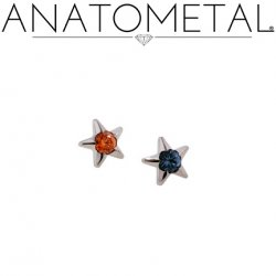 Anatometal Titanium Gem Star 3mm Threaded End 18g 16g 14g 12g