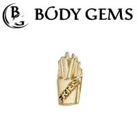 "Body Gems 14kt Gold ""Fries"" Threadless End 25g Pin (will fit 18g, 16g, 14g Universal Threadless Posts) ""Press-fit"""