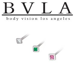 "BVLA 14kt Gold ""Square Illusion"" Nostril Screw Nose Bone Ring Stud Nail 20g 18g 16g Body Vision Los Angeles"