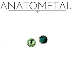 "Anatometal Flat Bottom Gem Titanium Threadless End 18 Gauge 18g ""Press-fit"""
