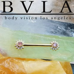 "BVLA 14kt & 18kt Gold ""Rose Bell Barbell"" 14 Gauge 14g Body Vision Los Angeles"