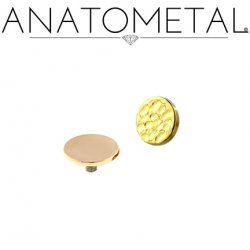 "Anatometal 18Kt Gold Threaded Disk End 3/16"" 10 Gauge 10g"