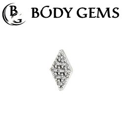 "Body Gems 14kt Gold ""Kite Illusion"" Threaded End Dermal Top 18 Gauge 16 Gauge 14 Gauge 12 Gauge 18g 16g 14g 12g"