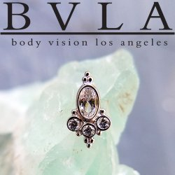 "BVLA 14kt Gold Oval ""Sarai"" Genuine Diamond Threaded End Dermal Top 18g 16g 14g 12g Body Vision Los Angeles"