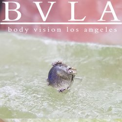 "BVLA 14kt & 18kt Gold ""4mm Prong Cab"" Threadless End 18g 16g 14g ""Press-fit"" Body Vision Los Angeles"