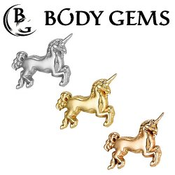 "Body Gems 14kt Gold ""Unicorn"" Threadless End 25g Pin (will fit 18g, 16g, 14g Universal Threadless Posts) ""Press-fit"""
