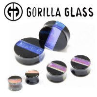 "Gorilla Glass Hybrid Deluxe Dichroic Double Flare Plugs 1/2"" to 2"" (Pair)"