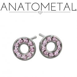 Anatometal Titanium 9 Gem Halo Earrings (Pair)