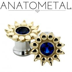 Anatometal Bronze Sinflower Surgical Steel Eyelet Ear Gauge 6 Gauge 4 Gauge 2 Gauge