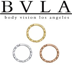 "BVLA 14kt & 18kt Gold ""Hammered Seam Ring"" Nose Nostril Septum Ring 20 Gauge 20g Body Vision Los Angeles"