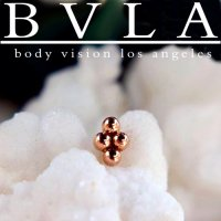"BVLA 14kt & 18kt Gold ""4 Bead Cluster"" Nostril Screw Nail Stud Nose Bone 20g 18g 16g Body Vision Los Angeles"