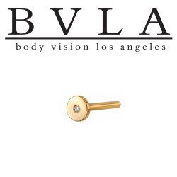 "BVLA 14kt & 18kt Gold ""Threadless Universal Fixed Flat Back Labret Stud"" Flush-set Diamond 18 gauge 18g (Accepts 25g Pin) Body Vision Los Angeles"