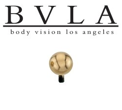 "BVLA 14kt & 18kt Gold ""5/32"" Bead"" Threaded Ball End 10 12 14 16 18 Gauge 10g 12g 14g 16g 18g Body Vision Los Angeles"