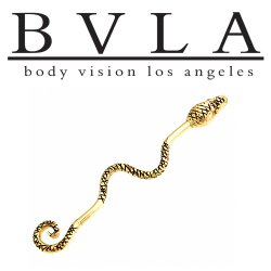 "BVLA 14kt Gold ""Serpent"" Industrial Barbell 16 gauge 16g Body Vision Los Angeles"