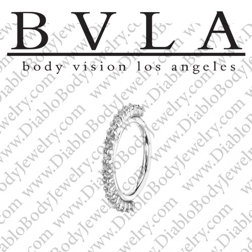 "BVLA 14kt Gold ""Telesto"" 1mm Gems Daith Septum Nose Seam Ring 20 Gauge 20g Body Vision Los Angeles - Click Image to Close"