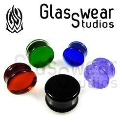 "Glasswear Pyrex Glass Solid Color Double Flare Plugs 0g - 2"" (Pair)"