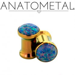 Anatometal Titanium Double Flare Single Stone Eyelets 8g - 1""