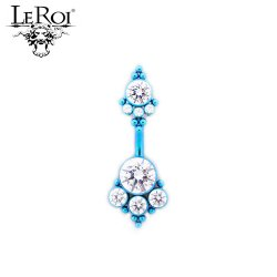 LeRoi Titanium Navel Curved Barbell with 2 Gem Clusters (4HN) 14 Gauge 14g