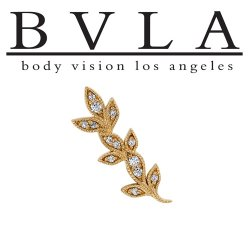 "BVLA 14kt & 18kt Gold ""Wisteria"" Threaded End 18g 16g 14g 12g Body Vision Los Angeles"