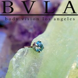 "BVLA 14kt & 18kt Gold ""4-Prong 2.5mm Gem"" Threadless End 18g 16g 14g ""Press-fit"""